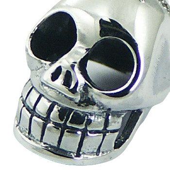 Skull sterling silver pendant, 0.7 inches total drop 2