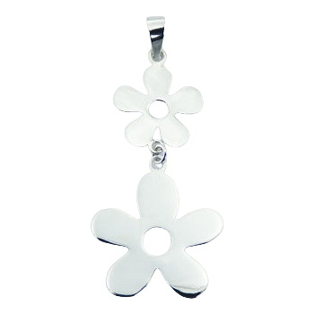 Daisy flower silhouettes sterling silver pendant 2.6 inches