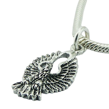 Antiqued and detailed sterling silver eagle pendant, 1 inch