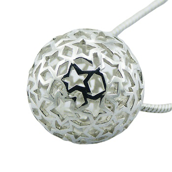 Airy silver sphere pendant with open stars