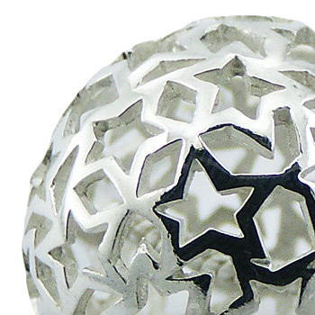 Airy silver sphere pendant with open stars 2