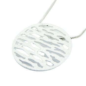 Silver disc brushed surface pendant