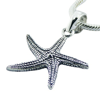 Detailed sterling silver starfish pendant
