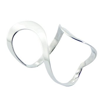 Adjustable flat wirework twisted silver ring