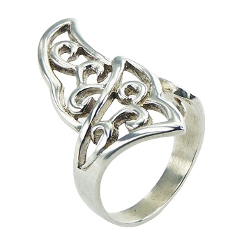 Ajoure adjustable fan shapes silver ring