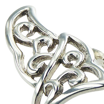 Ajoure adjustable fan shapes silver ring 2