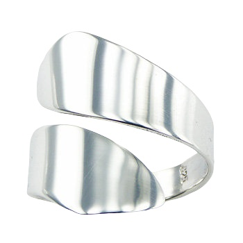 Unique design wide band spiral silver ring