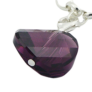 Faceted purple swarovski disc silver charm