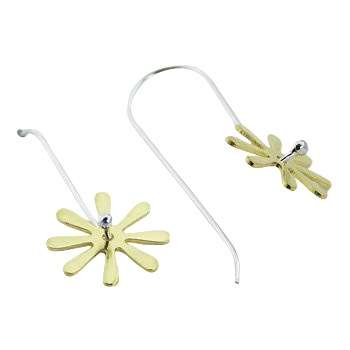 Gold plated flower silver earrings