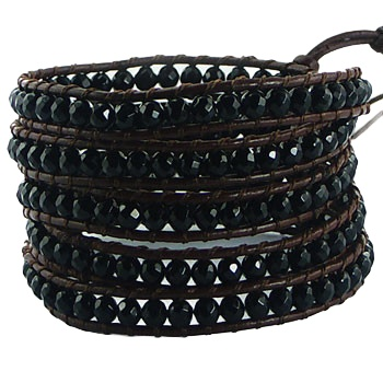 Five rows wrap bracelet with black agate gemstones