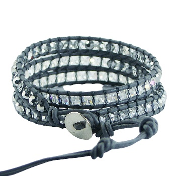 Wrap bracelet gray leather and clear glass beads 2