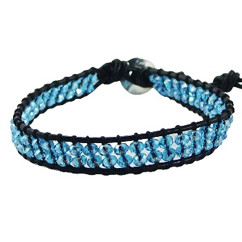 Wrap bracelet colorful glass beads with silver clasp 5