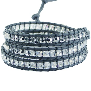 Wrap bracelet gray leather and clear glass beads