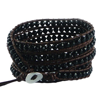 Five rows wrap bracelet with black agate gemstones 3
