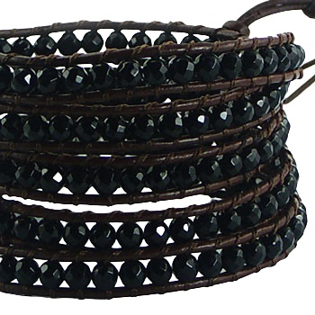 Five rows wrap bracelet with black agate gemstones 2